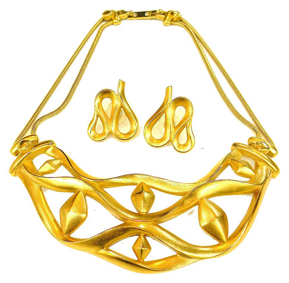 MONET Modernist Matte Finish Sculptural Necklace and Earring Set