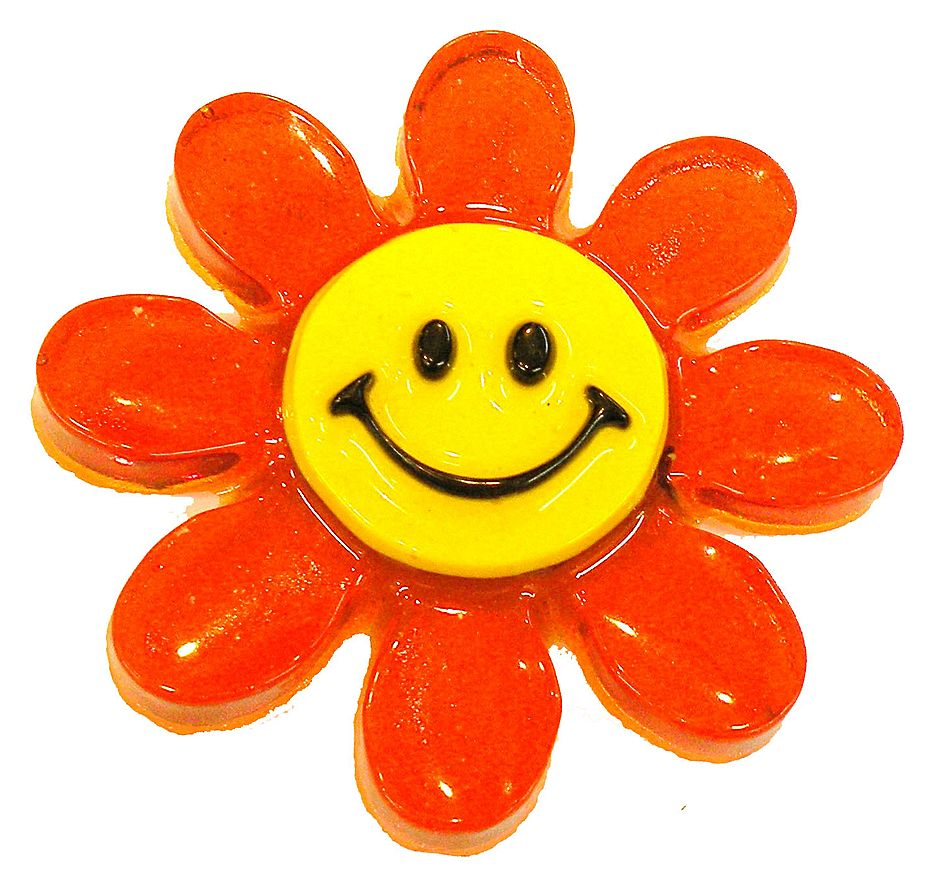 1971 Giant Smiling Daisy Plastic Brooch