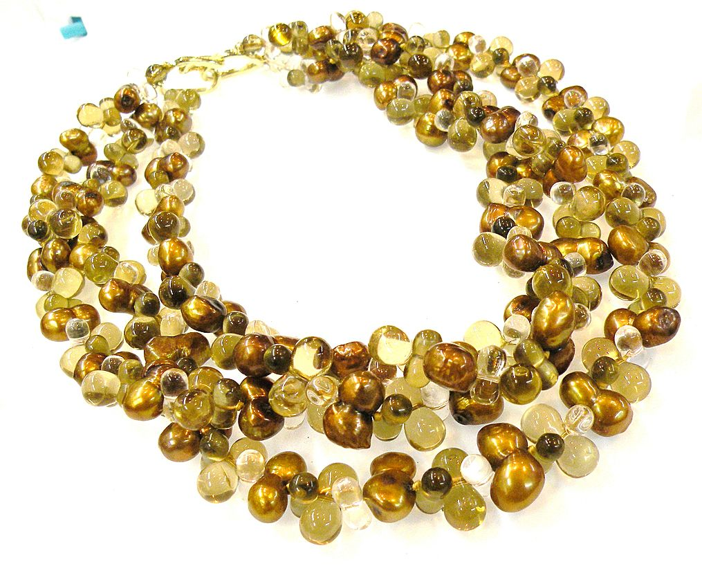 1980s Glass and Amber Tone Bubble Bead Torsade Necklace