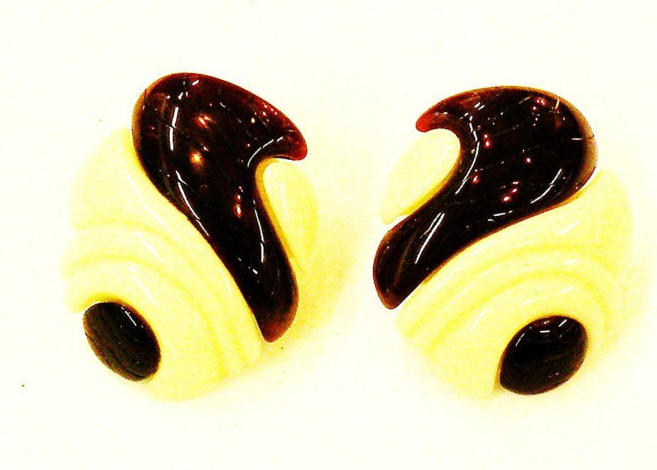 YSL Modernist Sculptural Two Tone Resin Lever Back Earrings