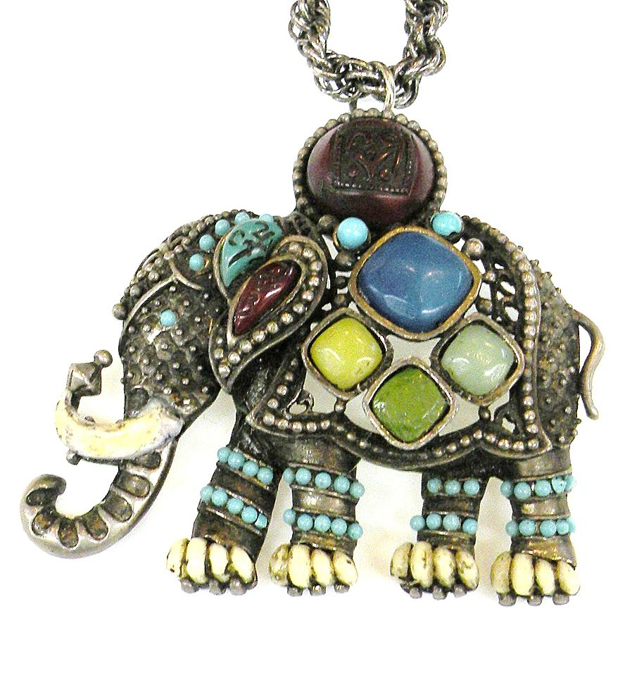 Multi Colored Cabochon Elephant Pendant Necklace or Brooch