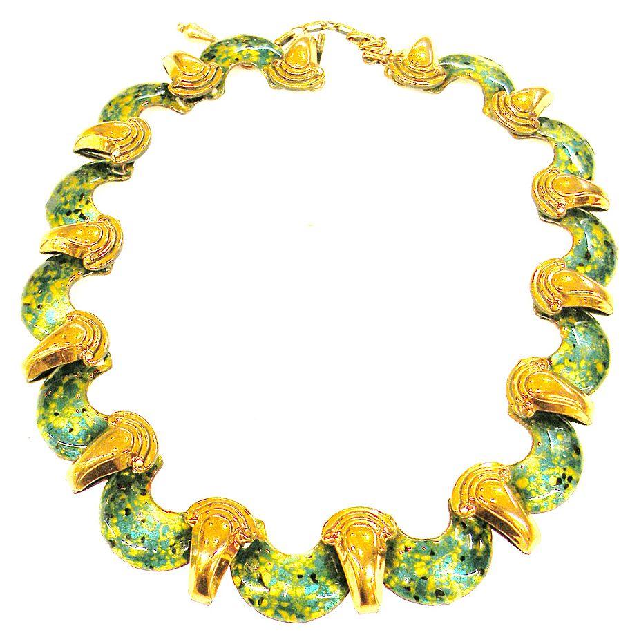 Speckled Green Enamel Copper Goddess Necklace