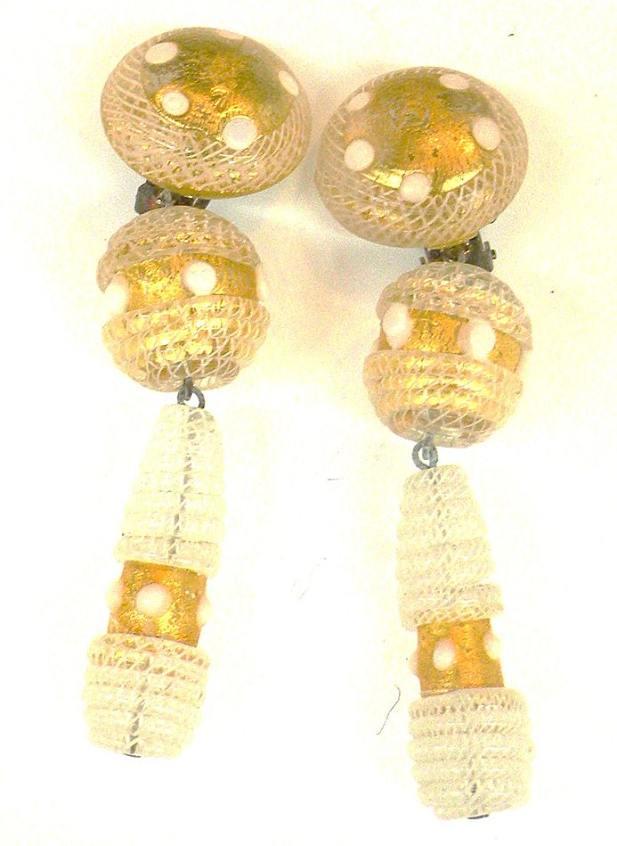 LATTICINO Glass Italian Drop Earrings 1970s