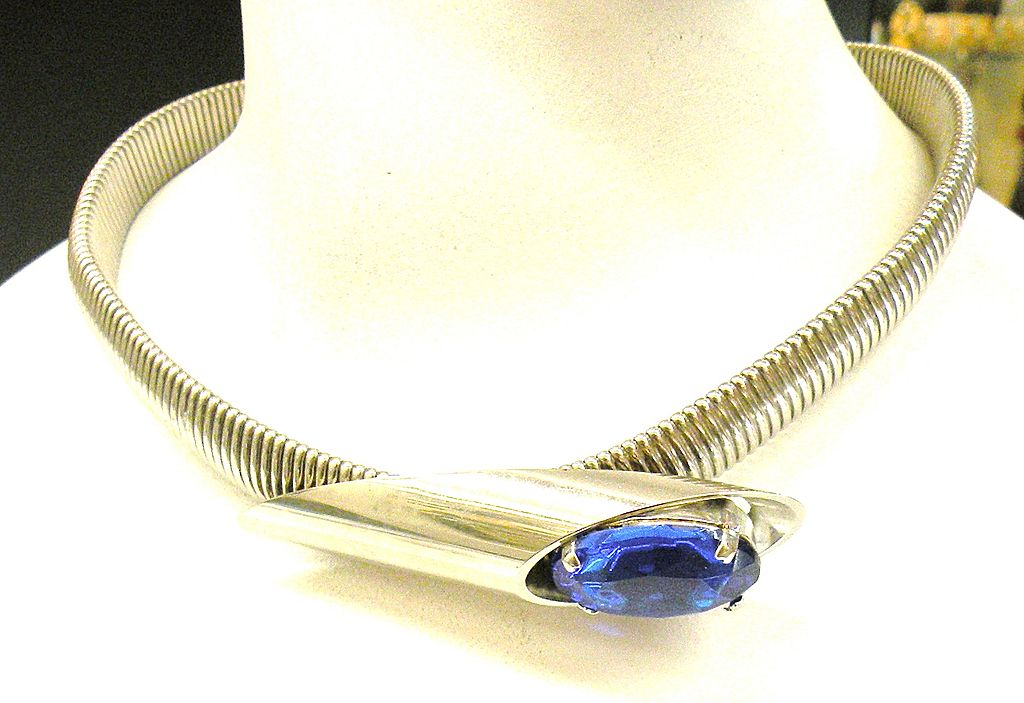 Space Age Gas Pipe Necklace with Cobalt Blue Faceted Rhinestone