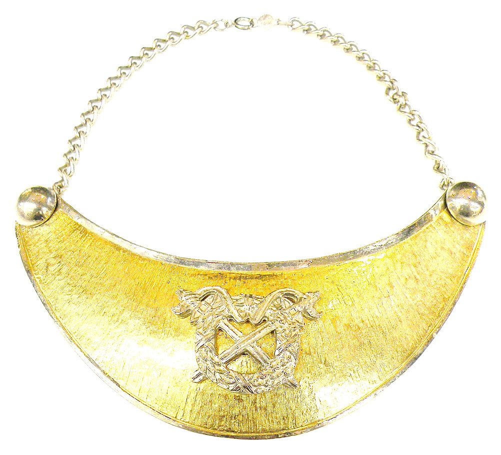 ACCESSOCRAFT NYC Coat of Arms Two Tone Metal Bib Shield Necklace