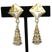980 STERLING Taxco Copper and Silver Wire Wraped Modernist Drop Earrings