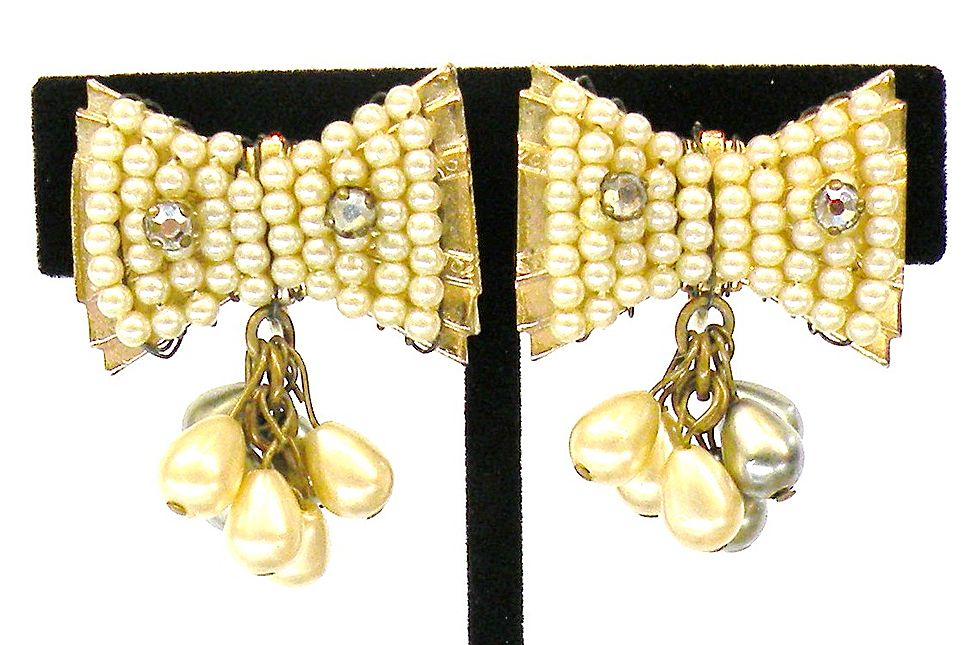 Grey and Cream Imitation Pearl Beaded Bow Earrings with Rhinestone Accents