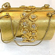 RODO 1970s Matte Gold Tone Rigid Box Type Miniature Evening Clutch Bag with Rhinestones