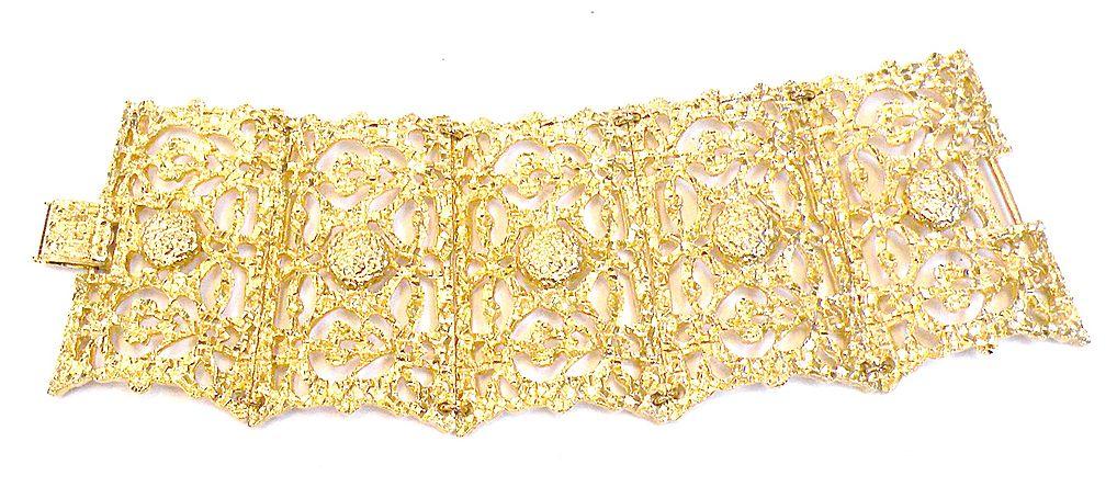 Baroque Shaped Filigree Panel Bracelet