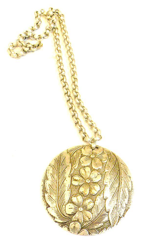 Etched Aluminum Floral Pendant Necklace