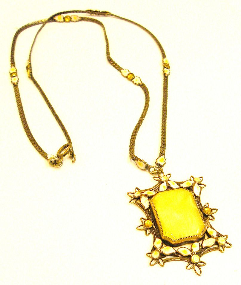 CZECH Yellow Glass and Enamel Framed Pendant Necklace