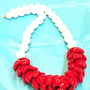 Funky Big Bold Red and White Plastic Necklace