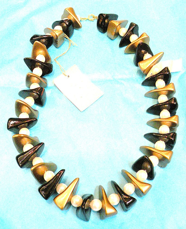Black, Copper and White Plastic Beaded Necklace