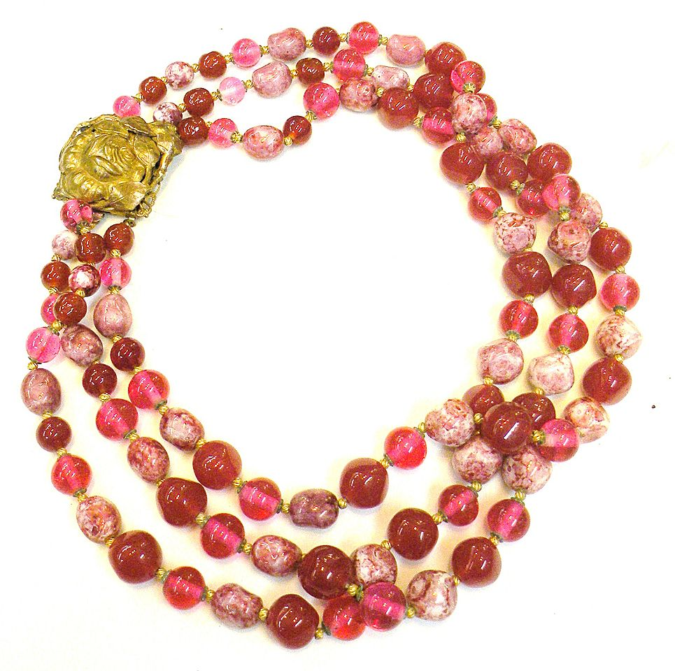 Pink and Raspberry Glass Triple Strand French Glass Necklace