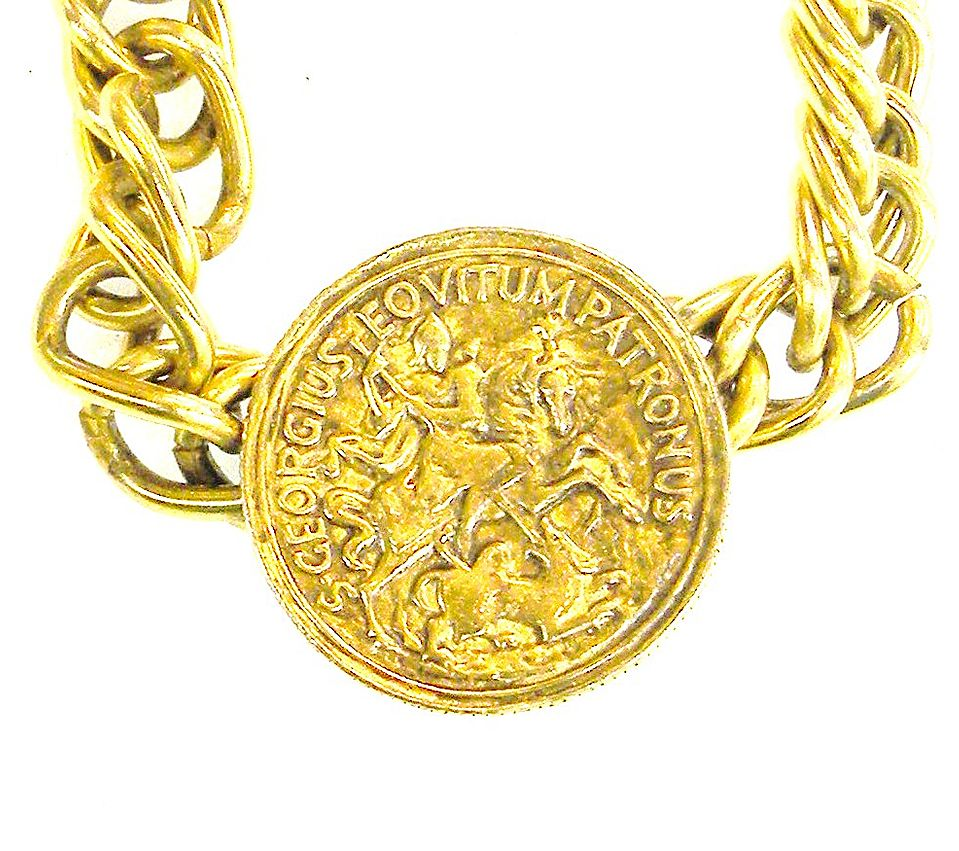 St. George Slaying the Dragon Coin Necklace on Heavy Chain