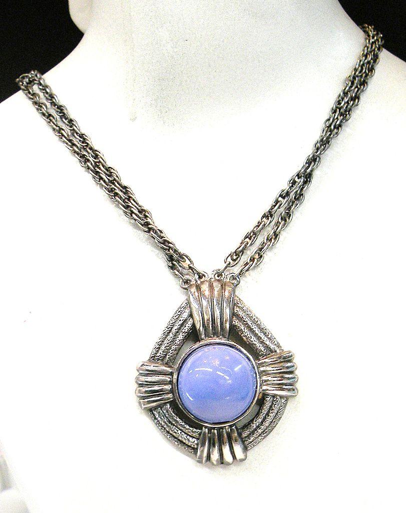 LUCIEN PICARD Periwinkle Glass Cabochon Pendant Necklace
