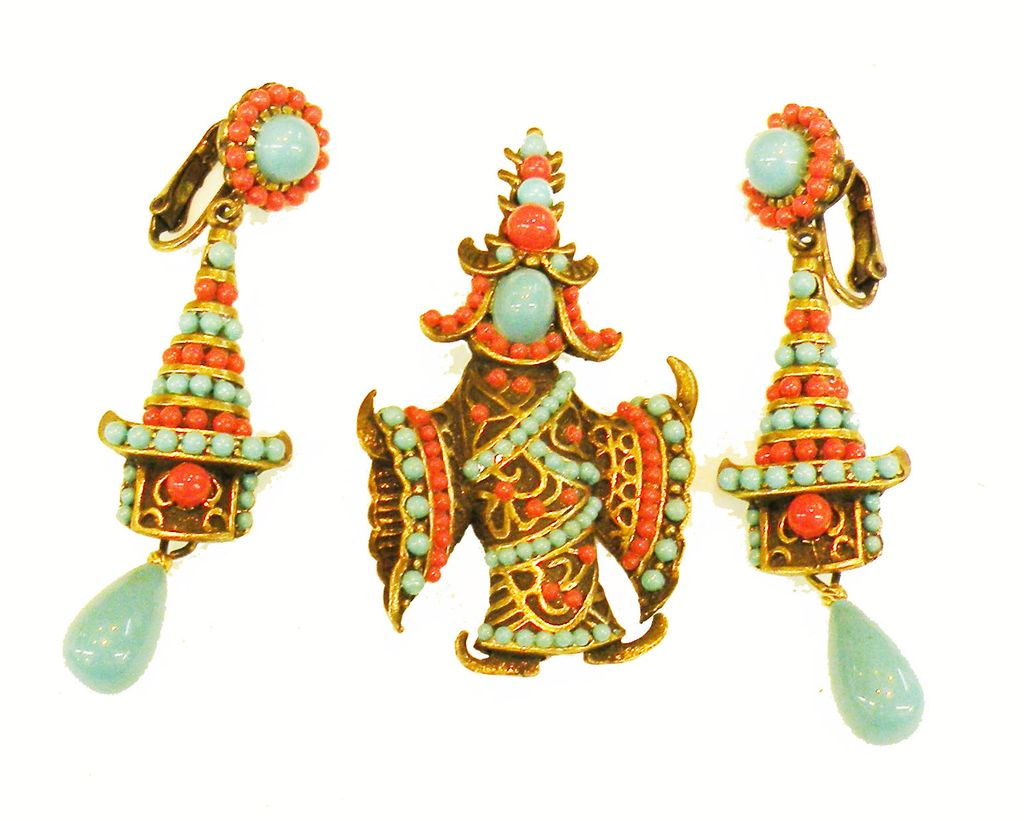 Turq and Coral Cabochon Asian Inspired Dancing Lady Brooch with Drop Earrings