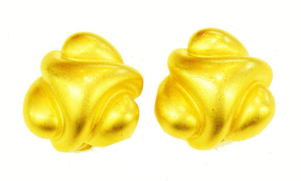 KJL Modernist Sculptural Matte Finish Gold Tone Earrings