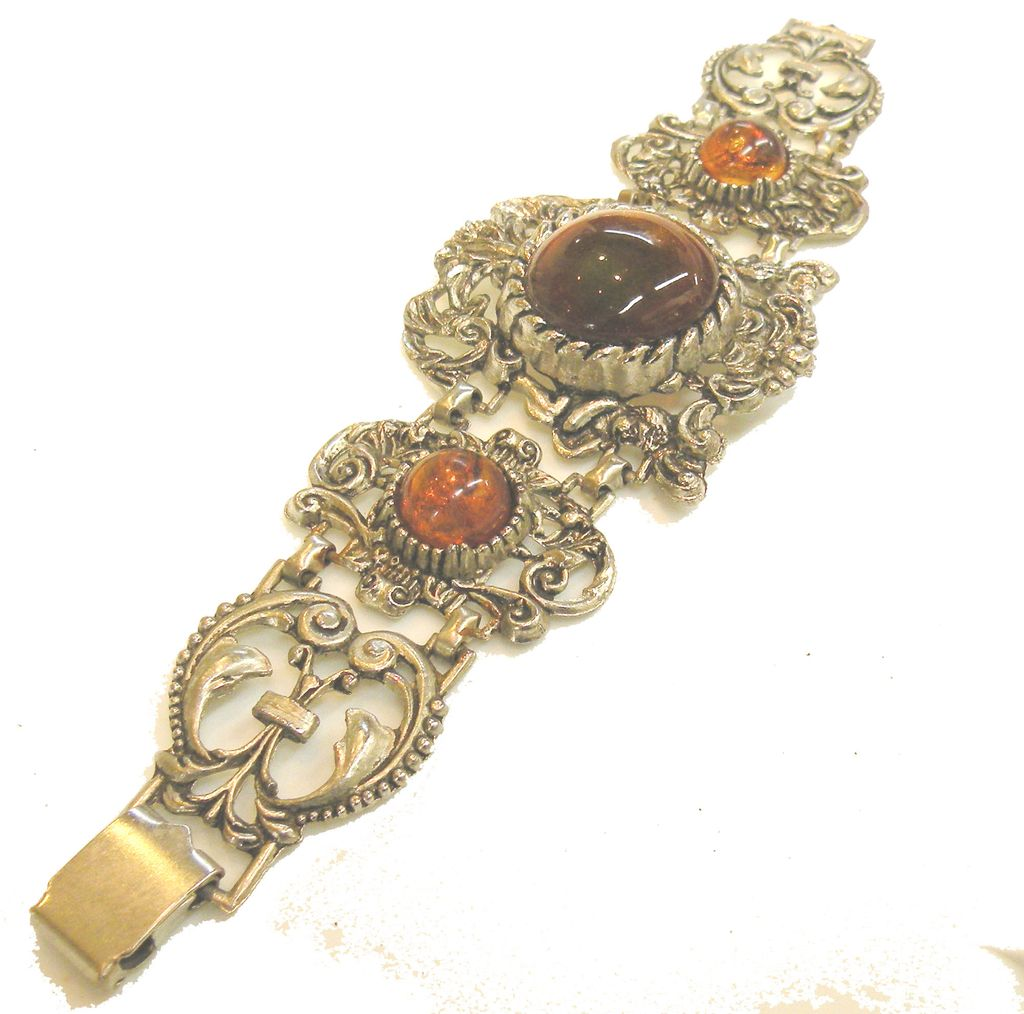 Wide Scroll Work Ornate Baroque Bracelet with Bi Color Rust Green Stones