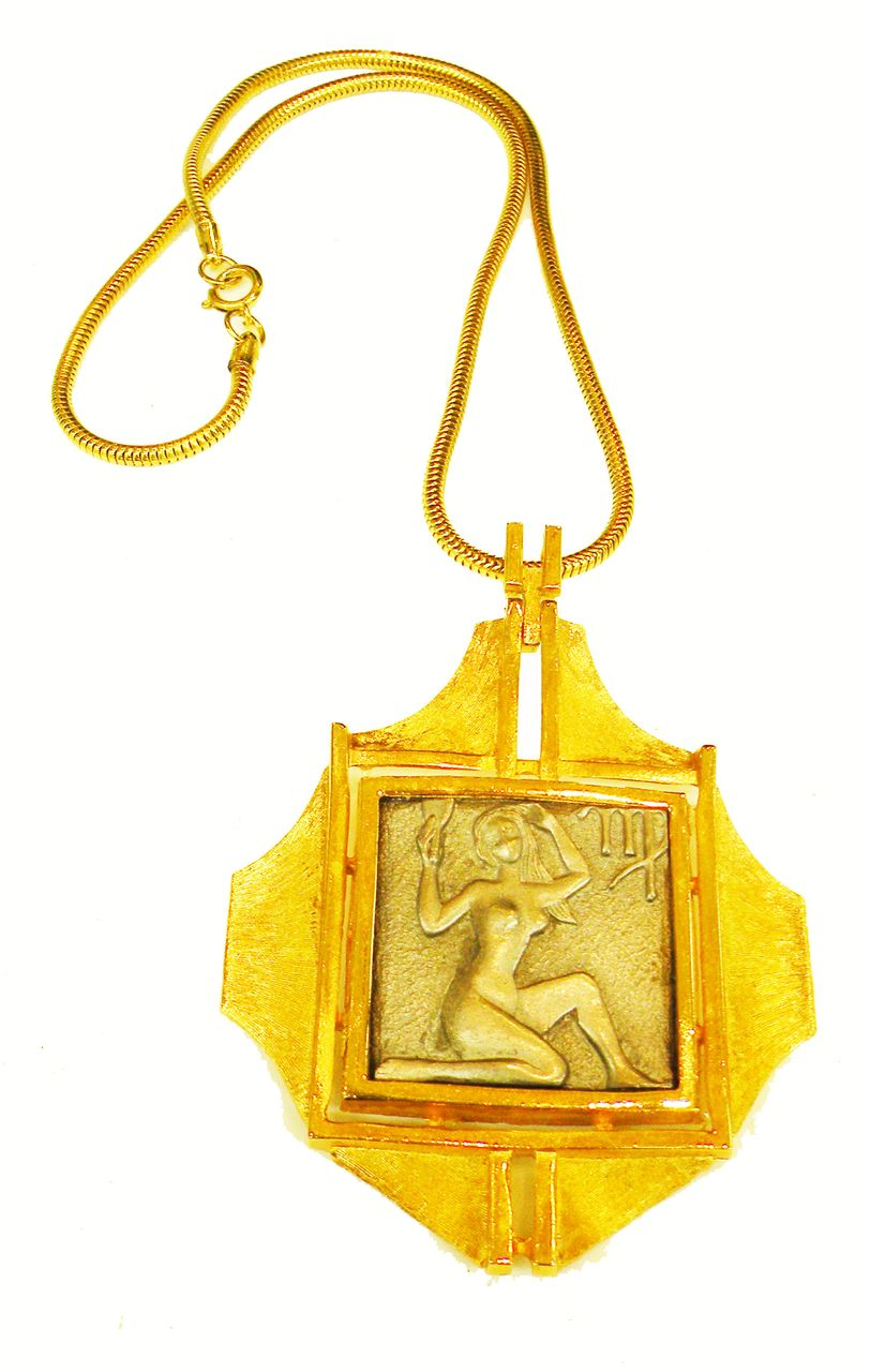 LUKE RAZZA Large Virgo Zodiac Series Two Tone Metal Pendant Necklace