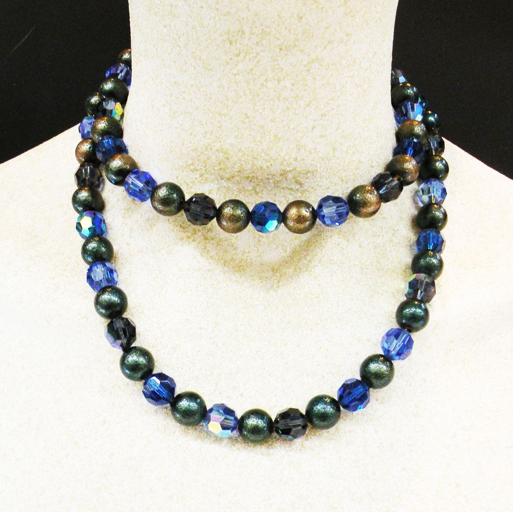 LES BERNARD Sterling Faceted Deep Blue Crystal and Grey Bead Sautoir Necklace