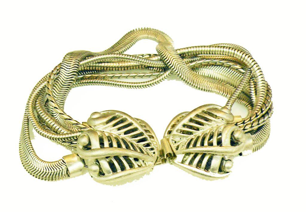 OSCAR De La RENTA Pale Silver Tone Metal Multi Chain Leaf Clasp Bracelet