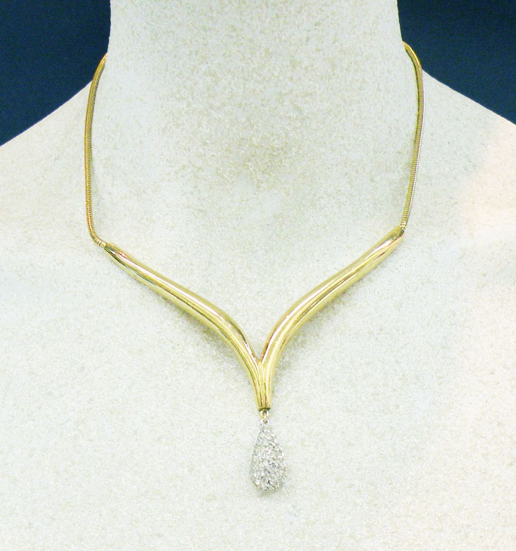 "CROWN TRIFARI Pretty as a Princess ""V"" Drop Pave Pear Necklace"