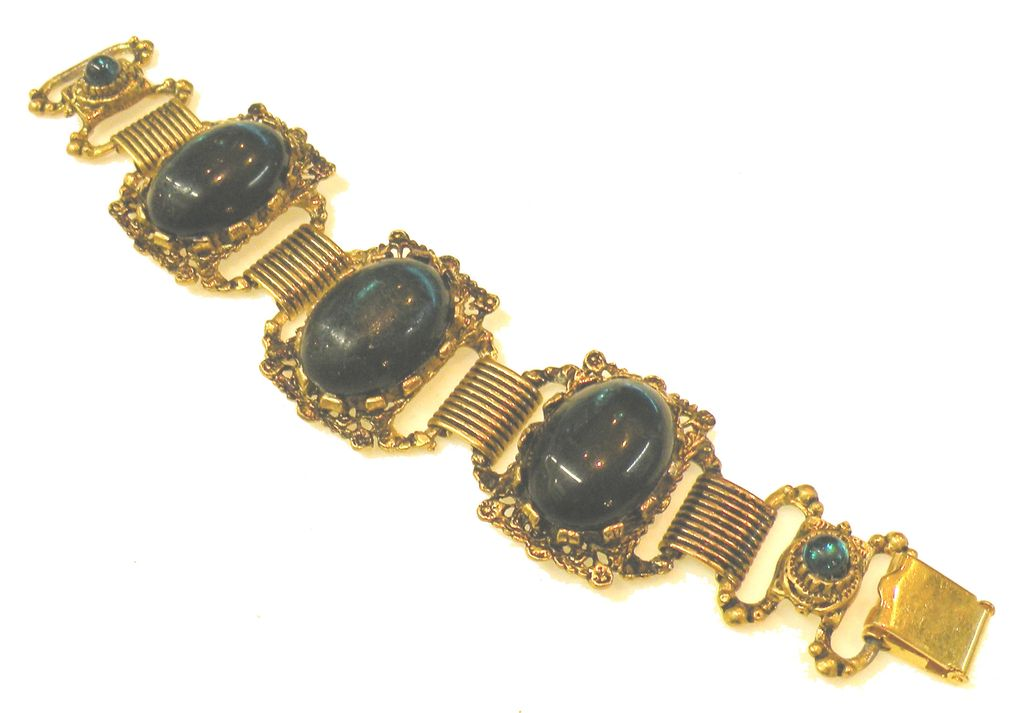 Decadent Deep Green Cabochon Baroque Station Bracelet