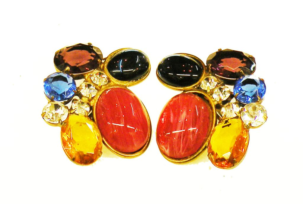 Great Big Multi Color Cabochon and Rhinestone Earrings
