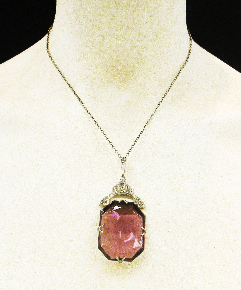 ART DECO Purple Faceted Stone and Paste Pendant Necklace