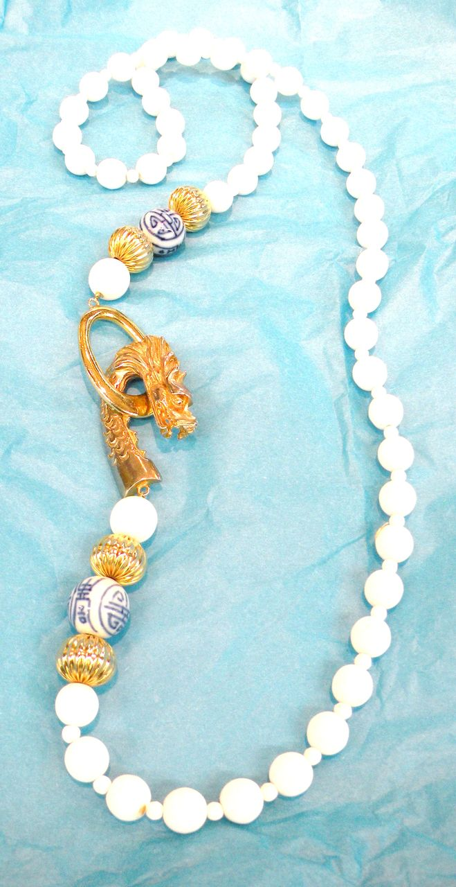 LES BERNARD Asian Inspired Dragon Head and Glass Bead Necklace