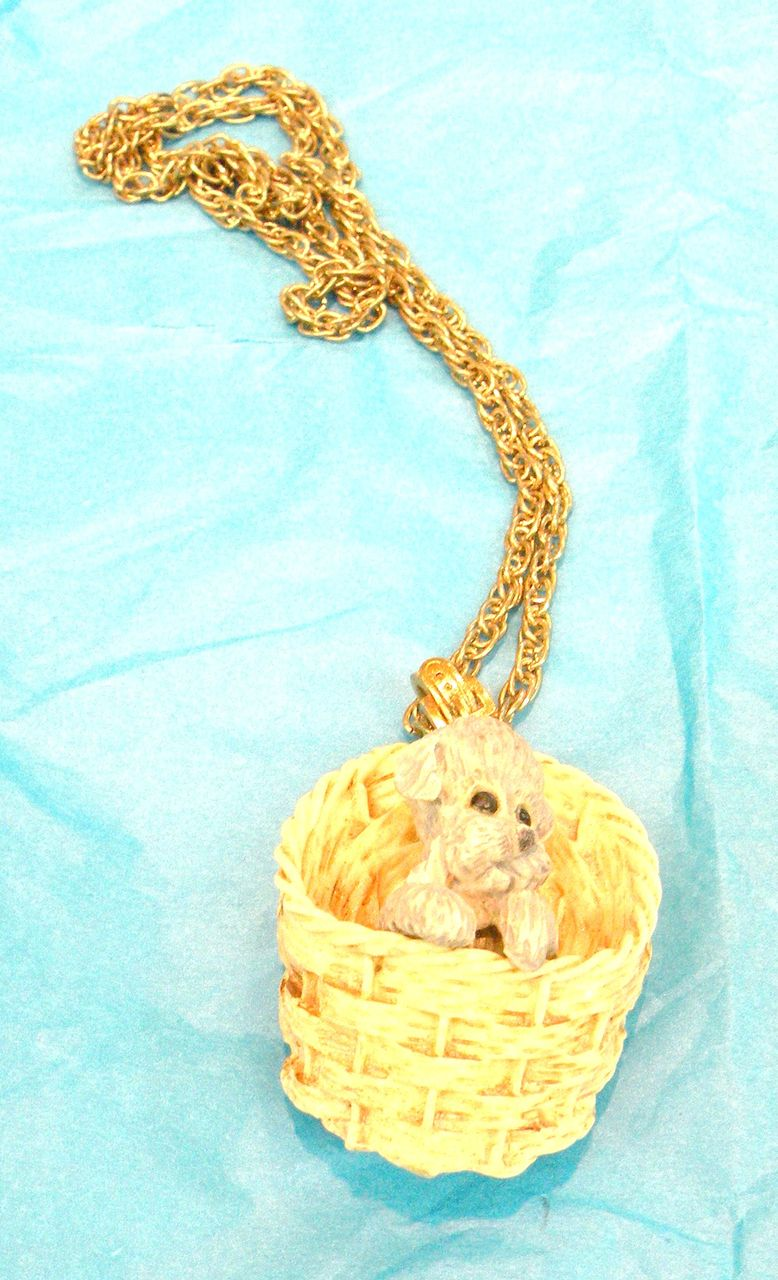 Signed RAZZA Puppy in a Basket Pendant Necklace