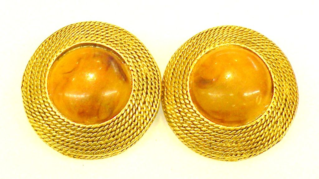 Mottled Amber Tone Earrings with Braided Gold Tone Edge