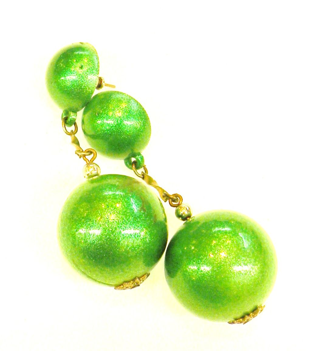 Kelly Green Iridescent Drop Ball Earrings