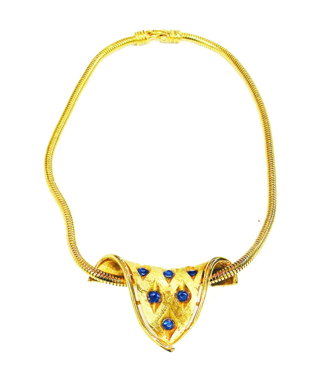 D'ORLAN Blue Rhinestone and Gold Tone Metal Sculptured Necklace