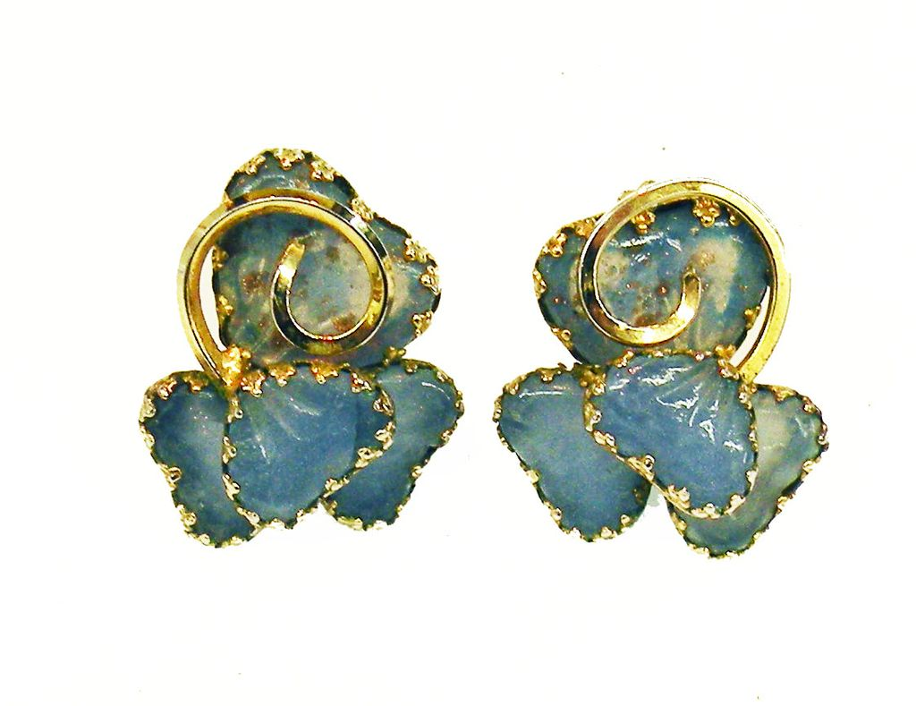 KRAMER Blue Lotus Leaf Omega Back Earrings