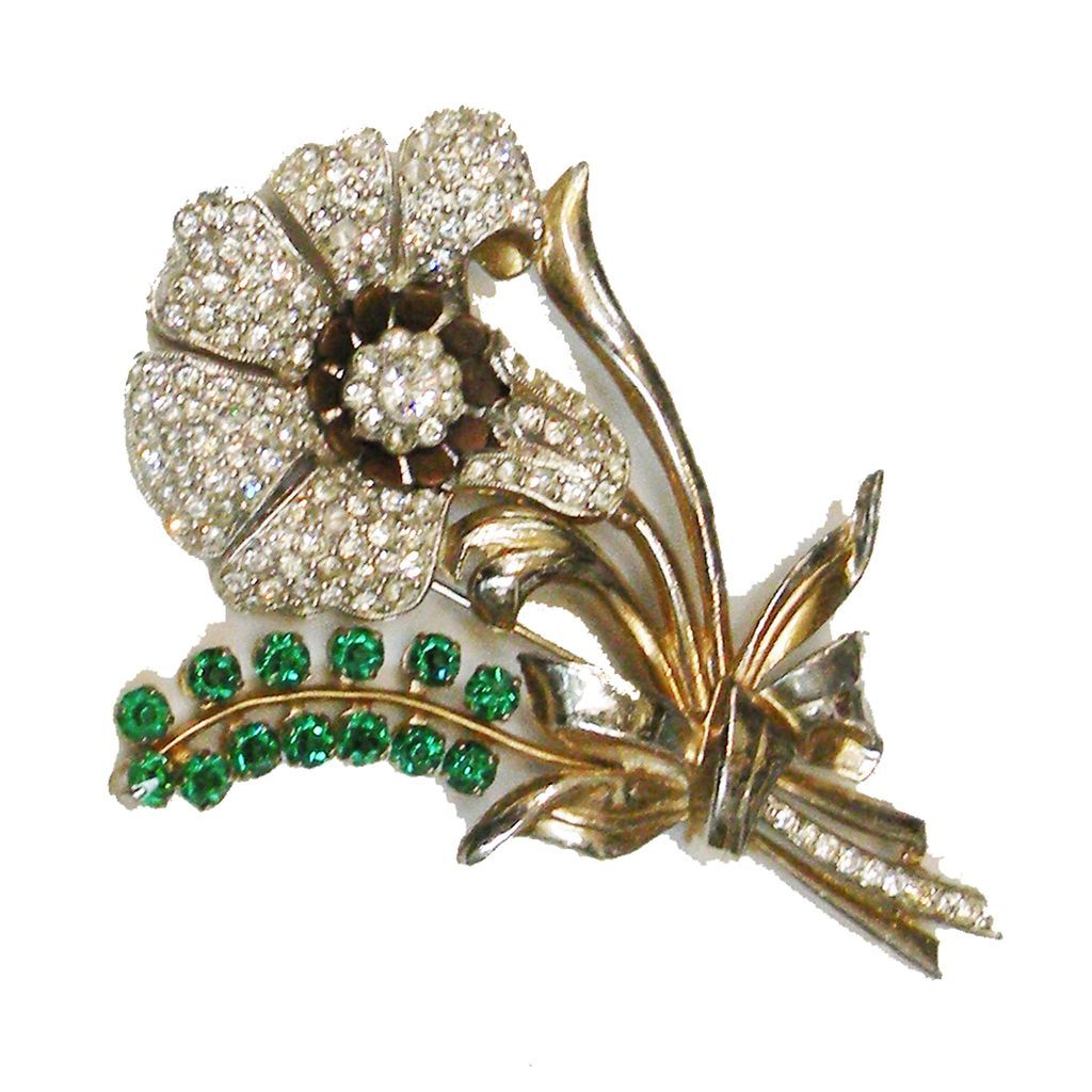 Glorious Rhinestone and Emerald Colored Glass 1940s Floral Brooch
