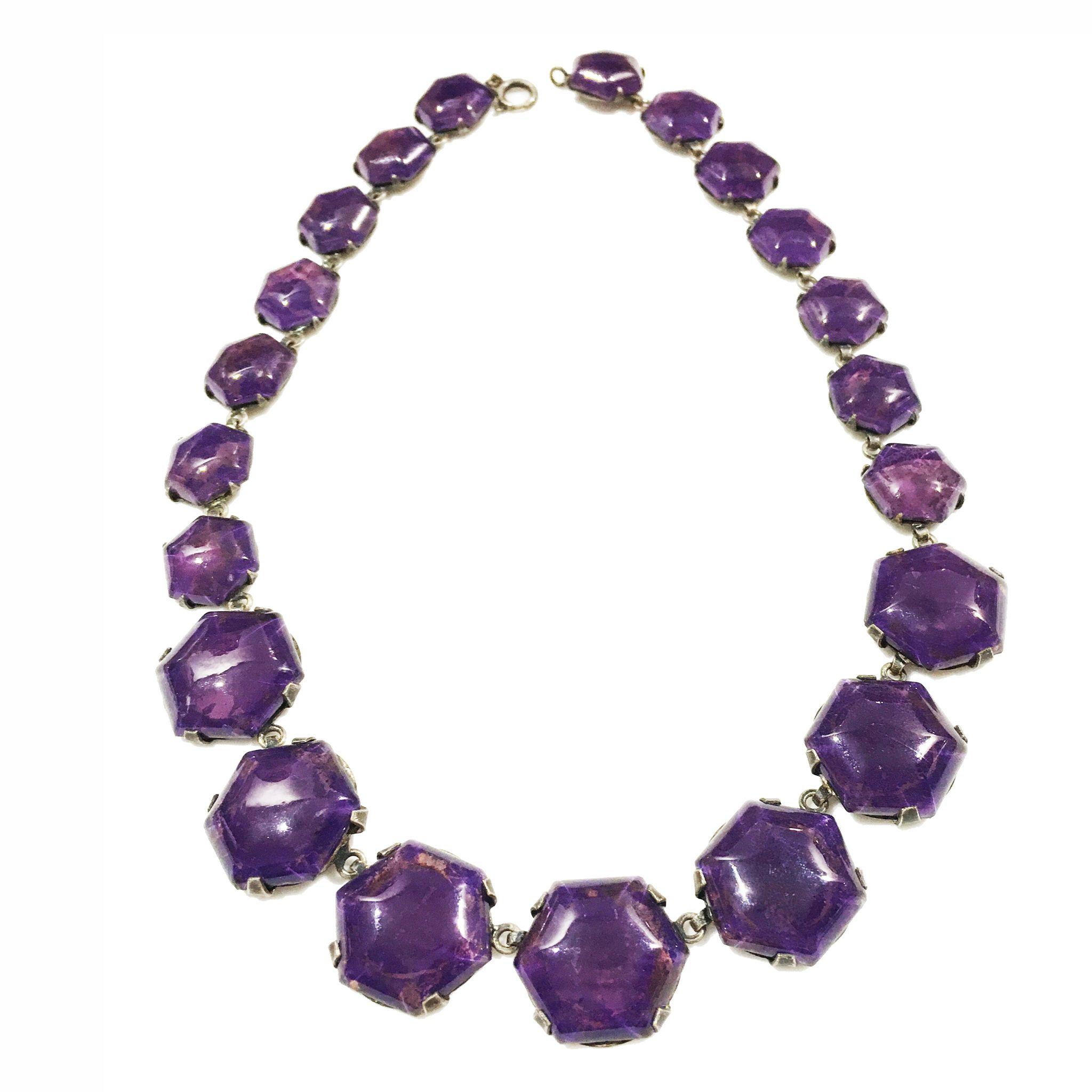 Art Deco Purple French Glass Decadent Necklace