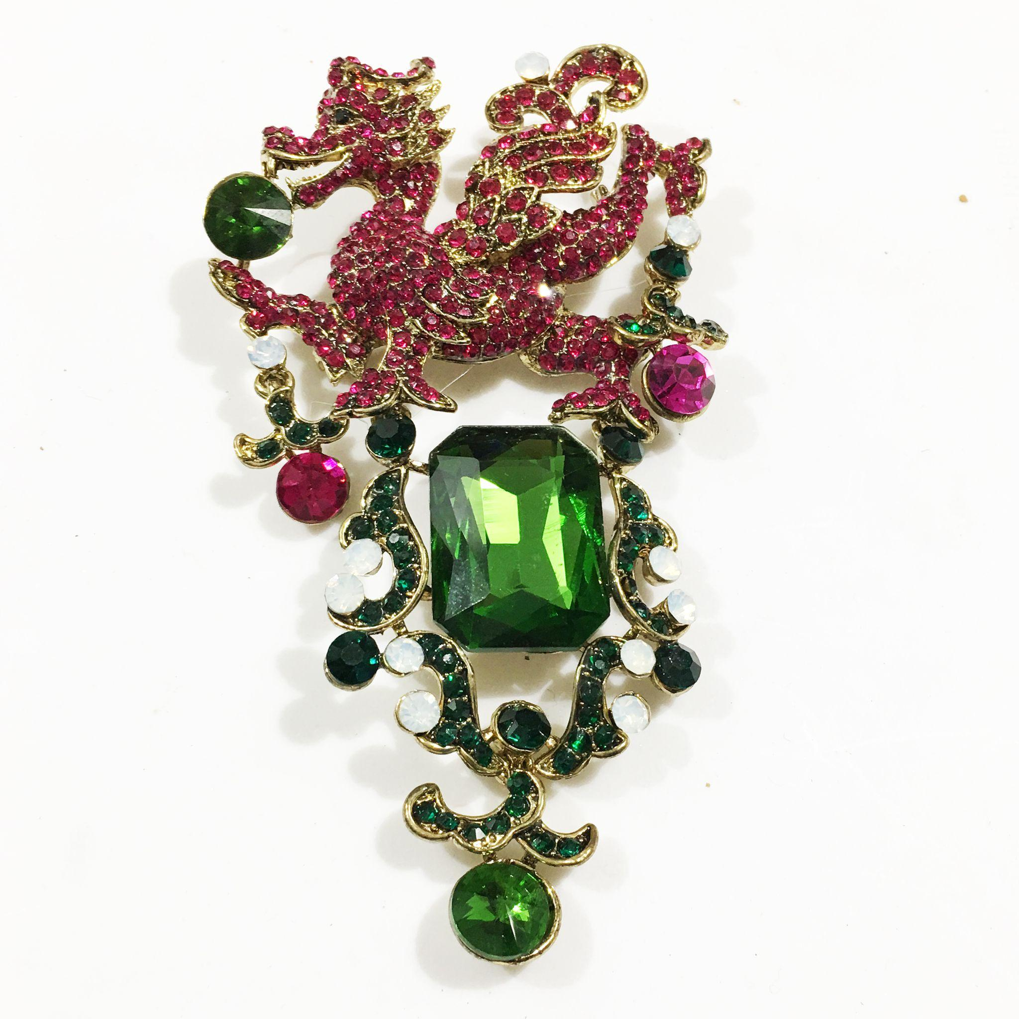 Raspberry and Emerald Giant Dragon Topped Brooch