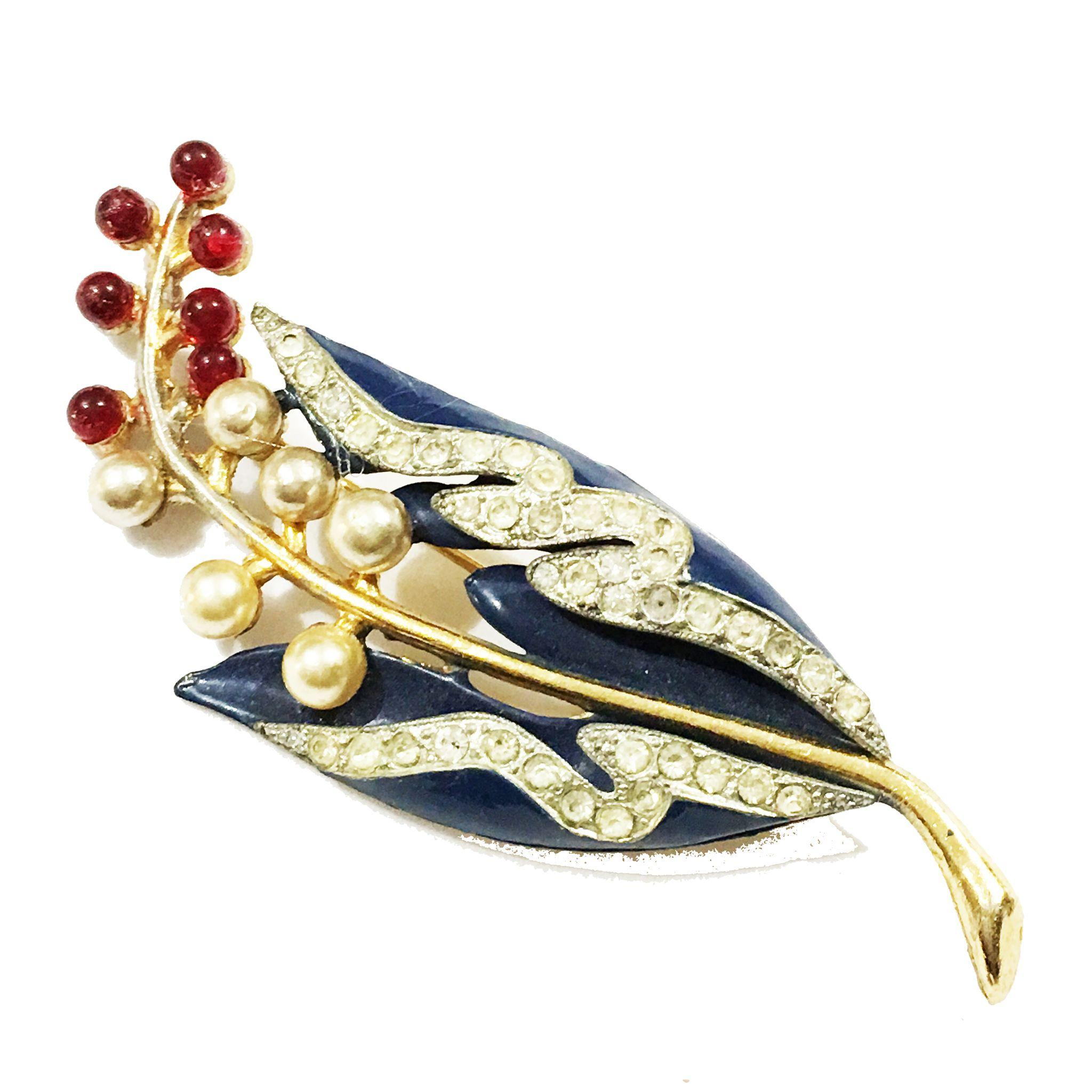1940s Dark Navy Enameled Floral Brooch with Imitation Pearl and Ruby Glass Cabochons