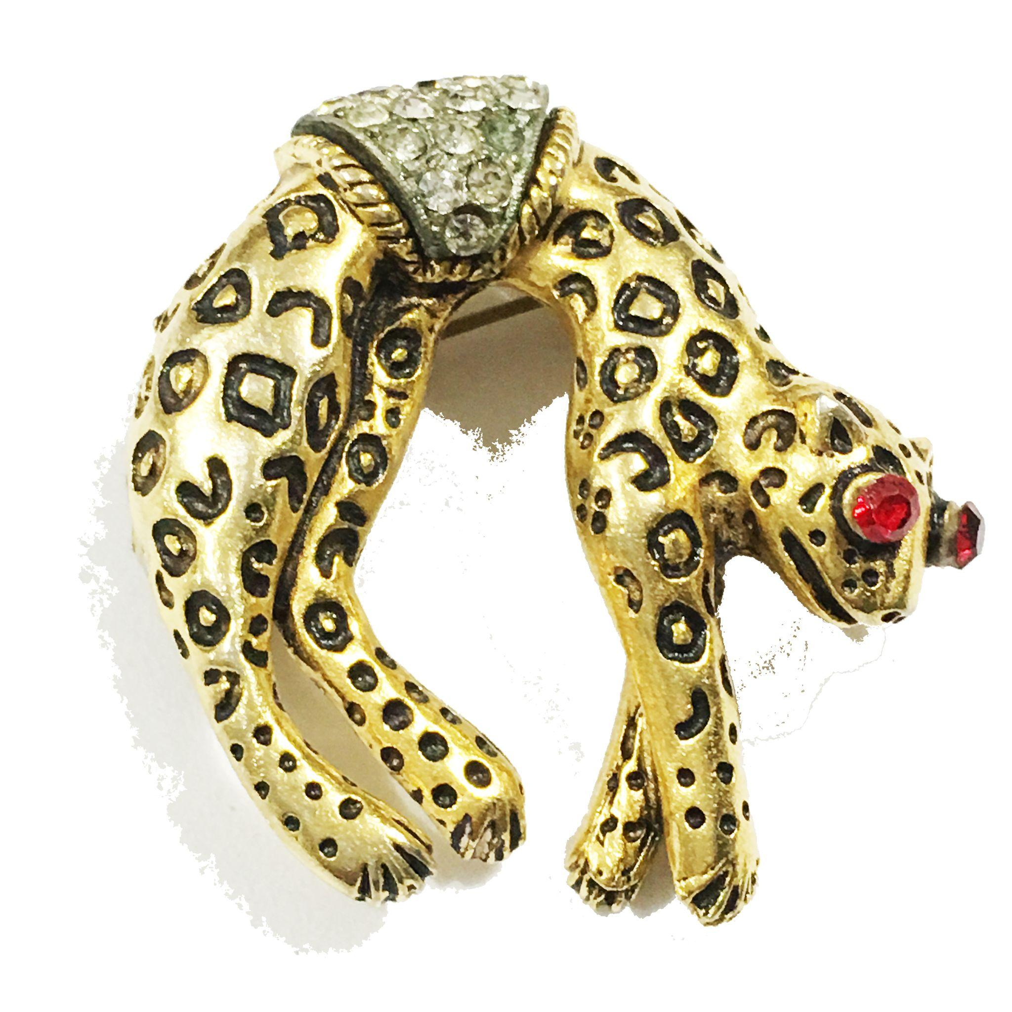 FLORENZA Signed Hanging Jaquar Brooch with Red Rhinestone Eyes