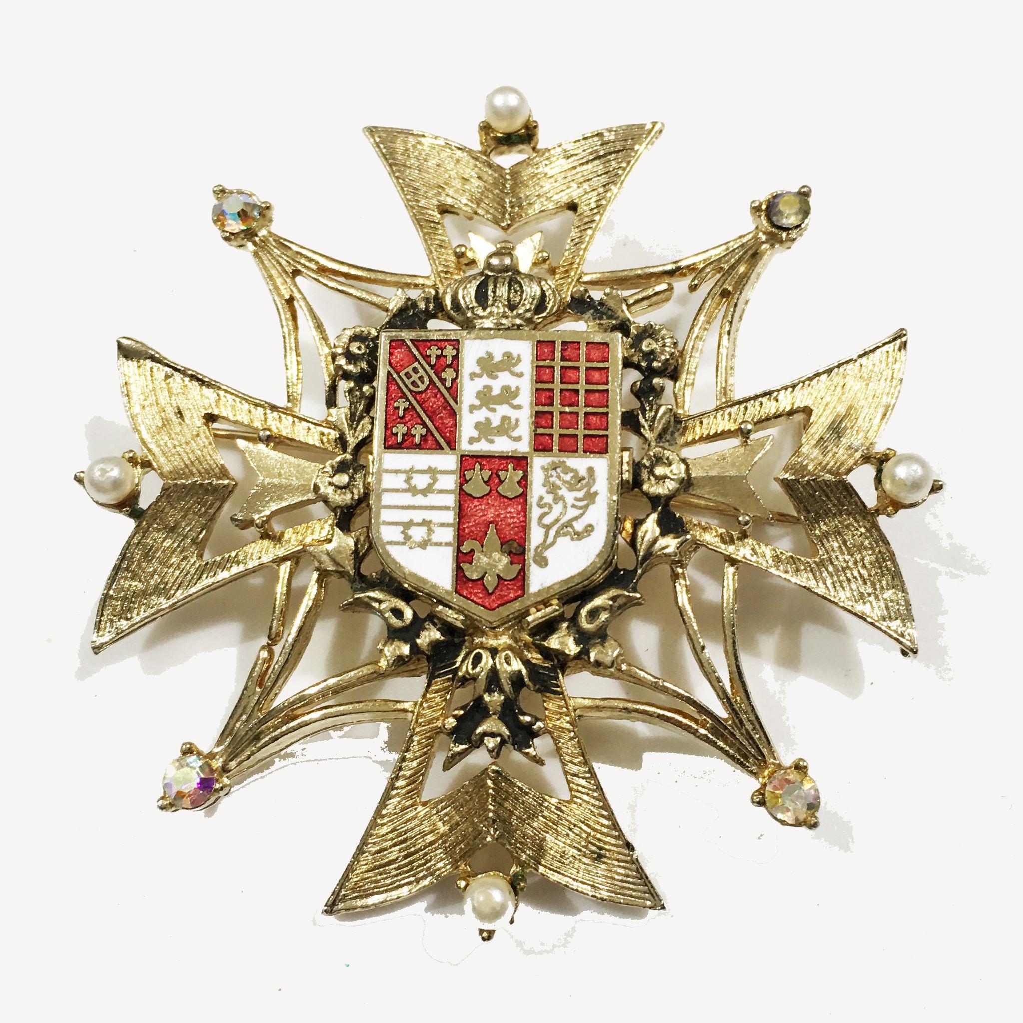 CORO Heraldic Shield Enameled Brooch