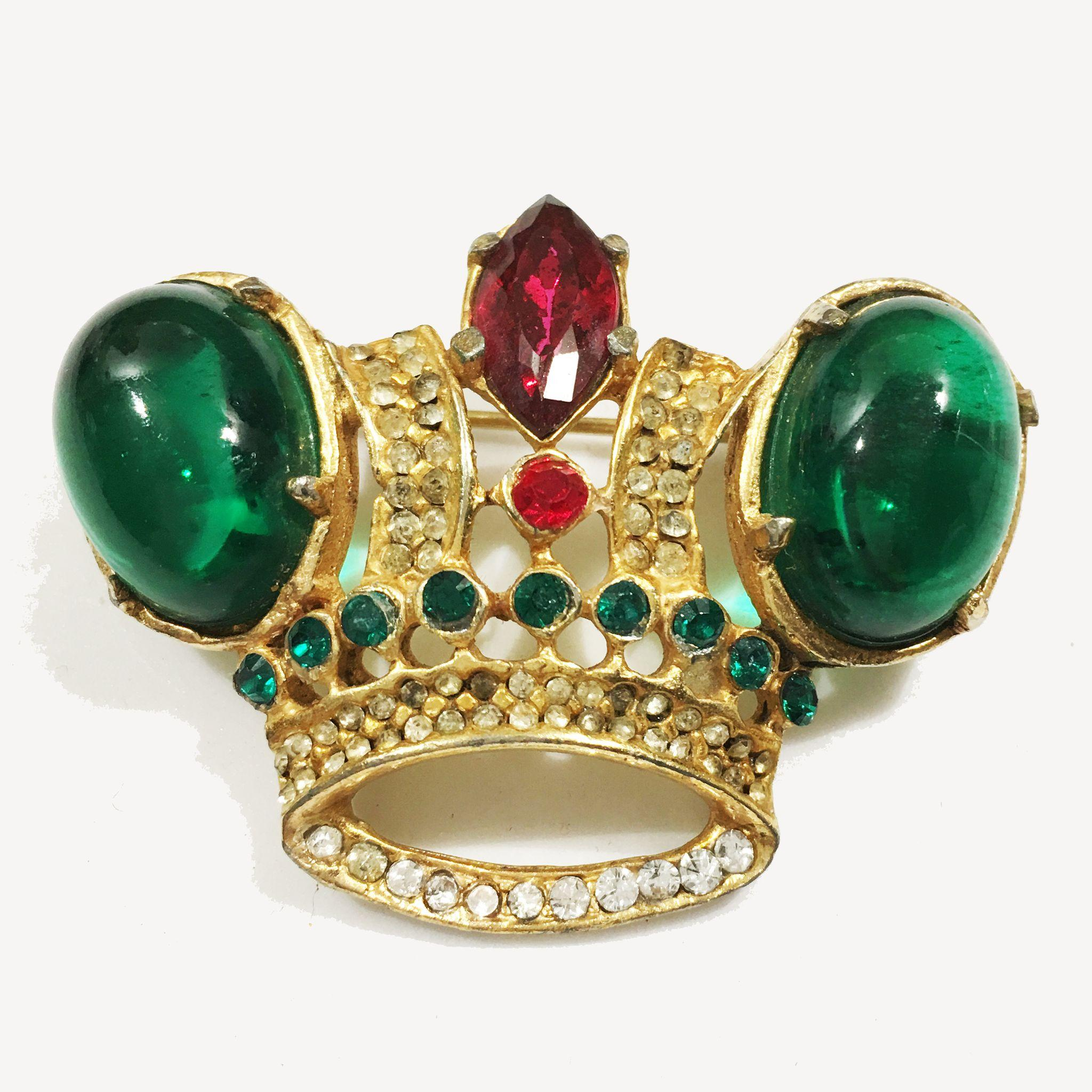 Mogul Colored Royal Crown Brooch with Large Emerald Glass Cabochons, Red Rhinestones and Clear Pave