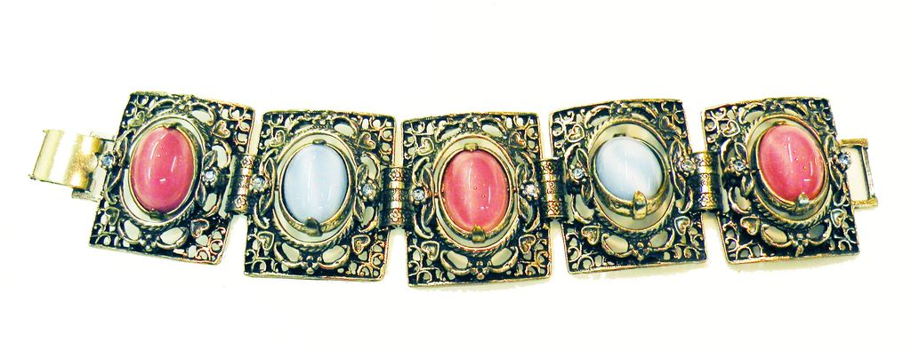 Multi Wear Pink, Blue, Moonstone Reversible Cabochon Station Bracelet