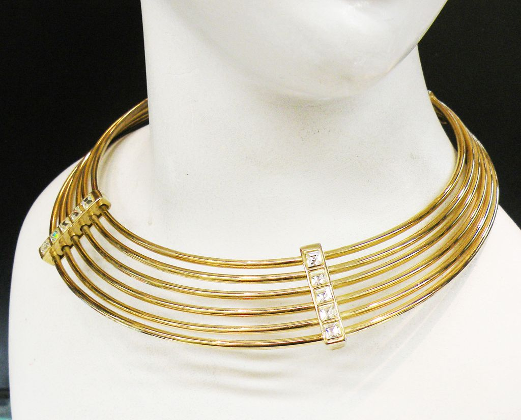 1970s Rigid Six Band Choker Necklace with Square Rhinestone Accent Bars