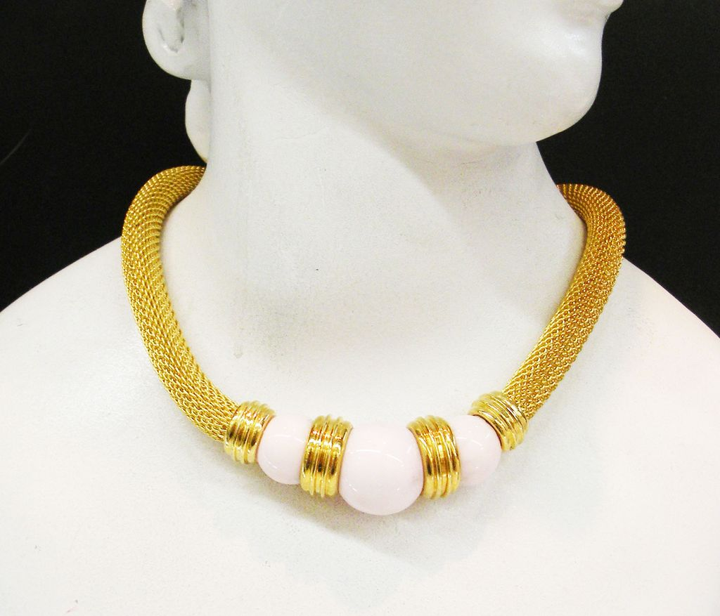 Palm Beach Pink Bead and Wide Gold Tone Mesh Gas Pipe Coil Collar Necklace