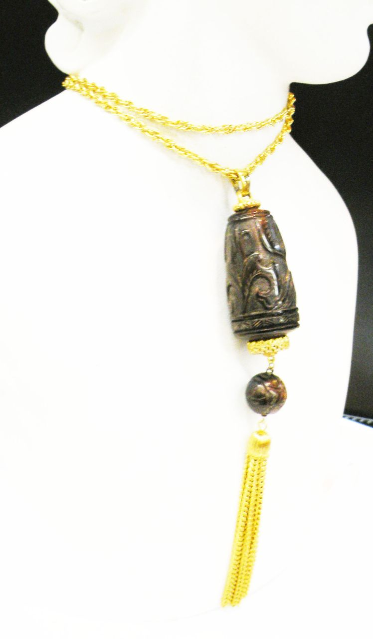 DIANE LOVE for TRIFARI Carved Deep Brown Exotic Bead with Tassels Pendant Necklace