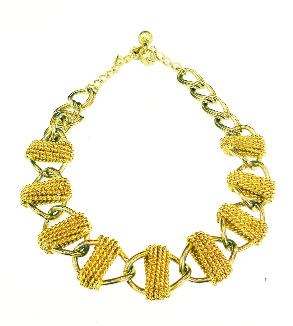 HOBE Wrapped Link Mixed Metal Modernist Chain Necklace