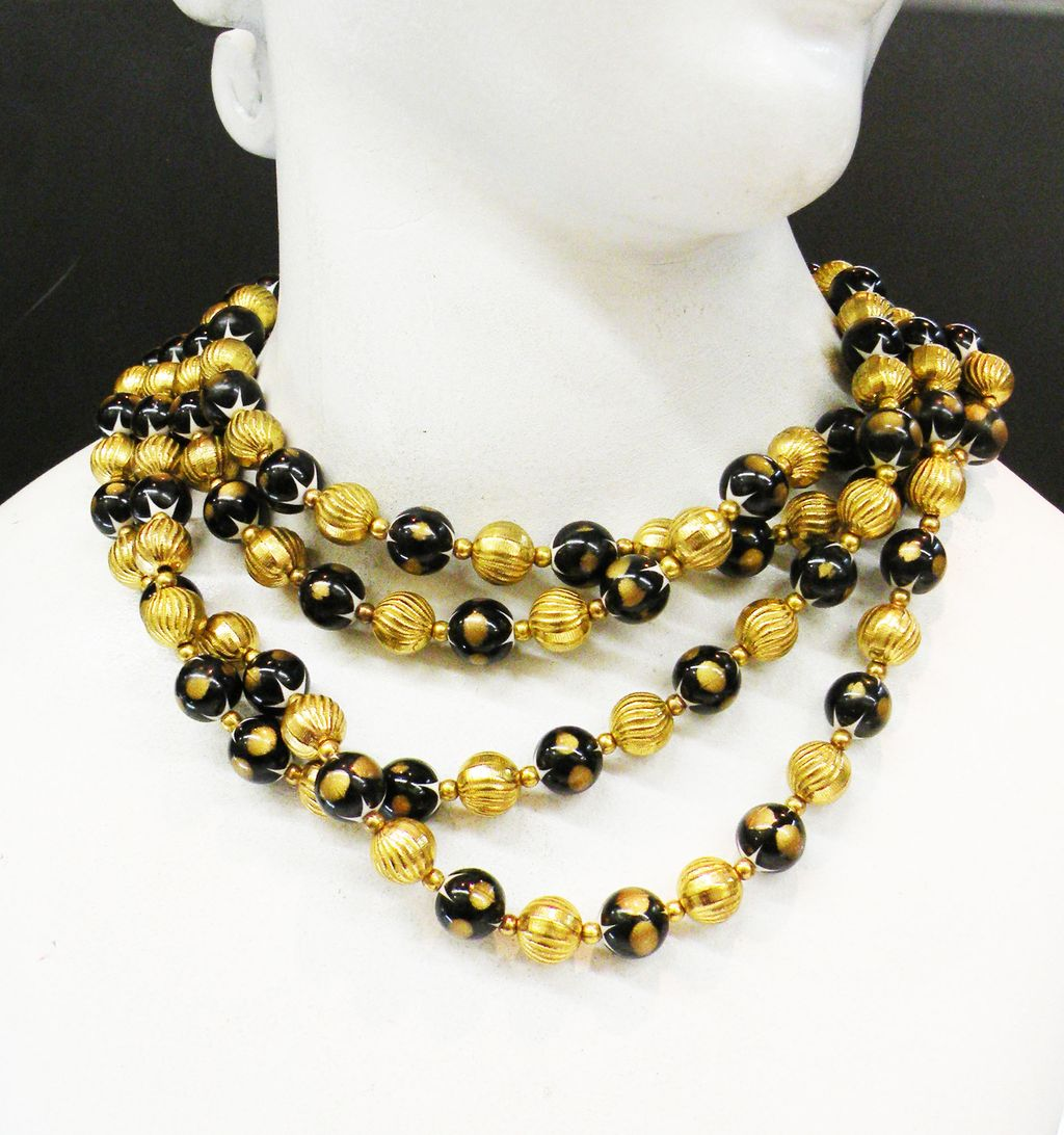 TRIFARI Four Strand Black and Gold Tone Base Metal Beaded Mad Men Necklace