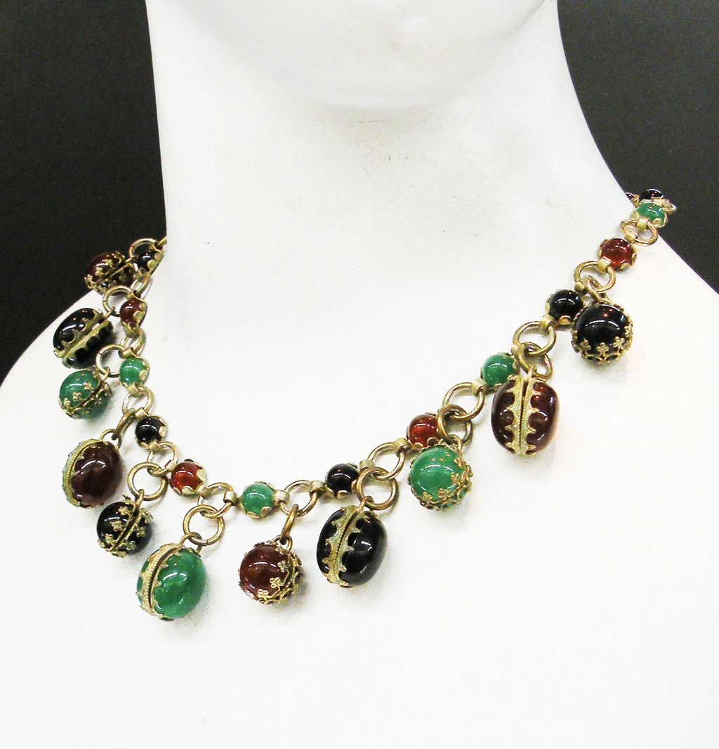 Green, Rust and Black Cabochon Book Chain Necklace with Dangling Charms